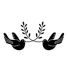 Contour cute doves animal with branches to peace vector