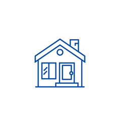 cottage chimneyreal estate line icon concept vector image