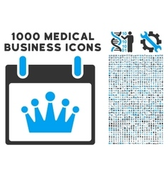 Crown Calendar Day Icon With 1000 Medical Business vector
