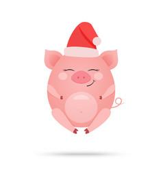 cute amused pig cartoon vector image