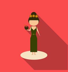 cute cartoon girl enjoying coconut drink on the vector image