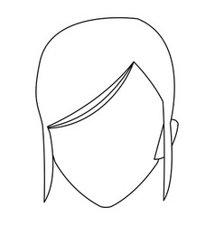 Cute face woman female hairstyle outline vector