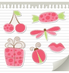Cute pink stickers vector