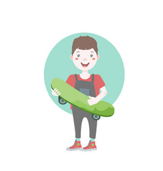 dark haired young character holding a skateboard vector image