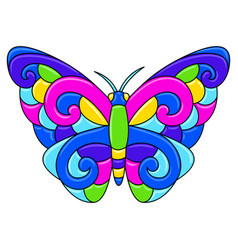 Decorative ornamental stylized butterfly mexican vector