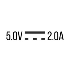 Direct current dc symbol sign for 5v and 2a vector