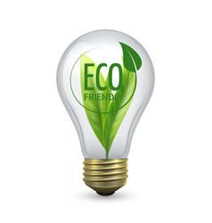 Eco friendly light bulb glass bulb with green vector