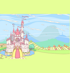 fairytale castle fortress vector image