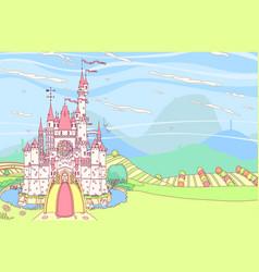 Fairytale castle fortress vector