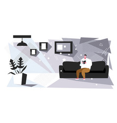 fat man sitting on couch reading book obese guy vector image