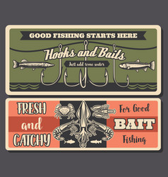 Fishery retro fishing tools and seafood vector