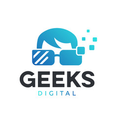 Geek digital logo vector