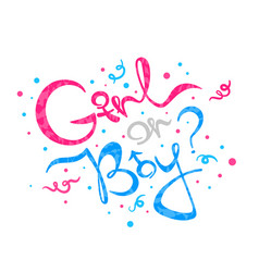 Girl or boy lettering gender reveal vector