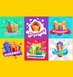Giveaway gift boxes free present or prize vector