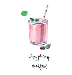 Glass of raspberry cocktail in watercolor vector