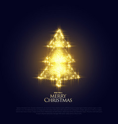 Glowing sparkles christmas tree premium design vector