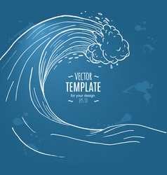 Great wave in a vintage retro hand drawn style vector
