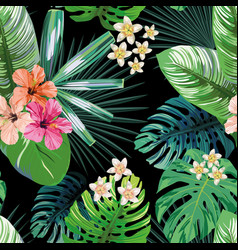 Green tropical leaves flowers seamless black vector