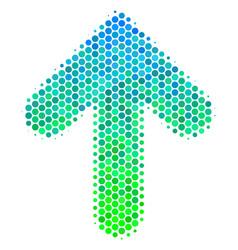 Halftone blue-green arrow up icon vector
