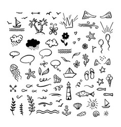 Hand-drawn doodle clipart on sea ocean summer vector