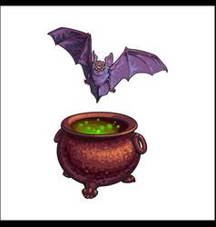 Hand drawn halloween symbols - flying vampire bat vector