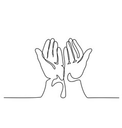 Hands palms together praying vector