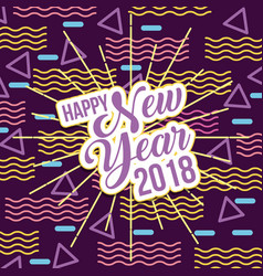 happy new year 2018 card greeting lettering vector image
