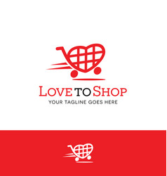 Heart shaped shopping cart logo vector