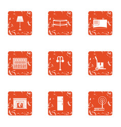 Home library icons set grunge style vector