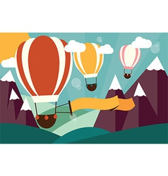 Hot air balloons flying over mountains with banner vector