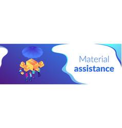 Humanitarian aidisometric 3d banner header vector