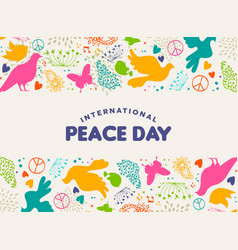 International peace day dove bird icon card vector