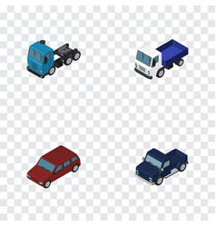 Isometric automobile set of car truck lorry and vector