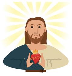 jesus christ sacred heart spiritual symbol vector image