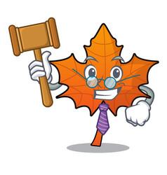 Judge red maple leaf mascot cartoon vector