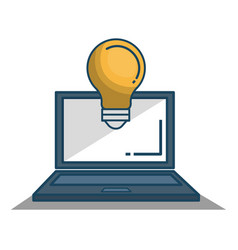 laptop computer with bulb isolated icon vector image