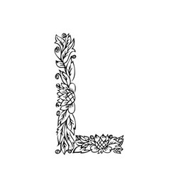 Letters floral l vector