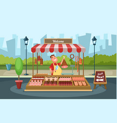 Local market place with fresh foods vector