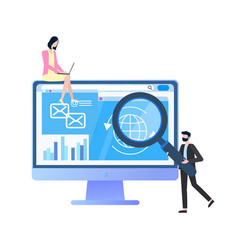 man holding loupe woman with laptop flat vector image