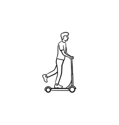 man on kick scooter hand drawn outline doodle icon vector image