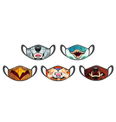 medic masks with animal muzzles scary roar beasts vector image