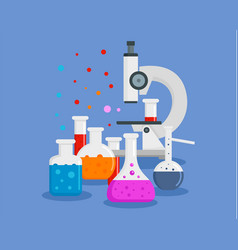 microscope chemical flask concept background flat vector image