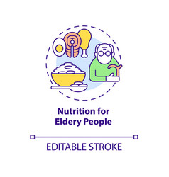 Nutrition for elderly people concept icon vector