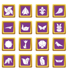 Origami icons set purple square vector