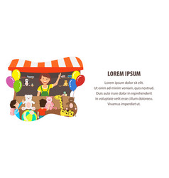 Plush toys store flat web banner template vector