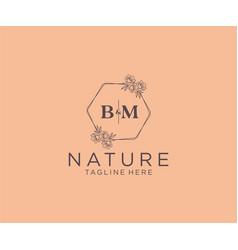 Prinitial bm letters floral frames botanical vector