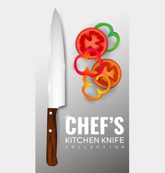 Realistic chef knife poster vector