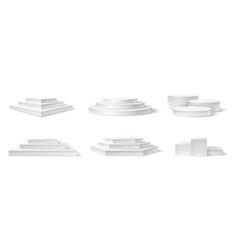 realistic podium white 3d empty podiums pedestal vector image