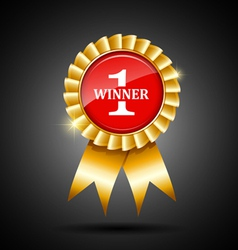 Red and gold winner ribbon award vector
