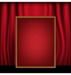 Red curtain background blank billboard vector